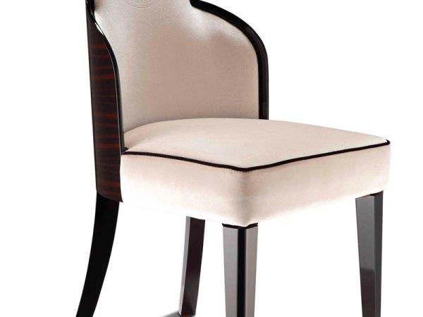 后现代奢华阿玛尼 米白色绒布绣 餐椅