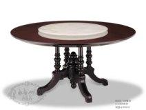 后现代奢华阿玛尼 桃木纹圆餐桌图片