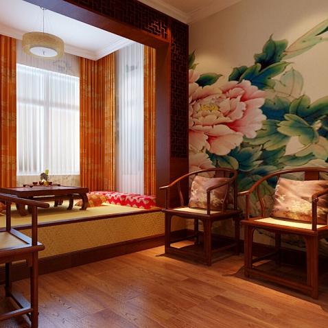 中式风格四居室阳台组合柜装修效果图大全图片