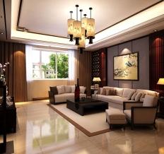青岛小镇200平新中式风格装修;