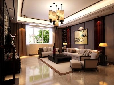 新中式风格;-200平米复式装修样板间