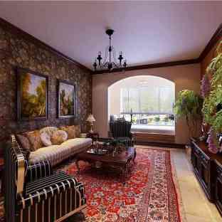 复古美式风格客厅窗帘效果图图片