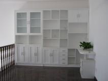 连体书柜书桌定制图片