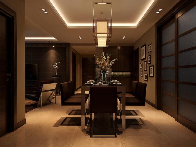 港式风格餐厅酒柜装修效果图欣赏-室内设计师吴红涛图片