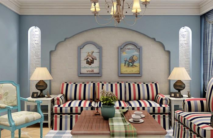 地中海风格-92平米二居室-装修样板间