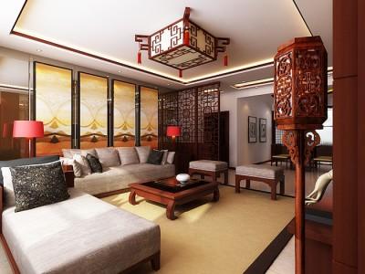 中式风格-131.62平米三居室装修样板间