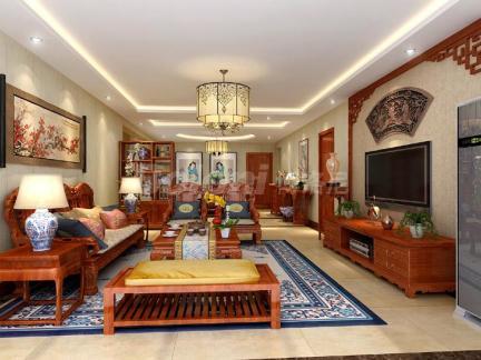 中式风格三居室客厅壁纸装修效果图大全图片