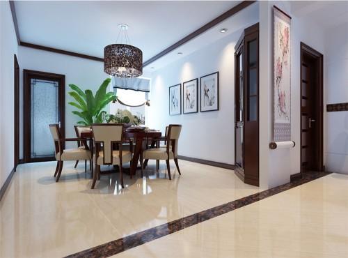 采用与客厅一致的一字型吊顶相互呼应,中式布艺餐椅搭配挂画,让餐厅的图片