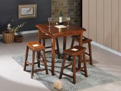 青岛美立方家居进口纯实木餐桌餐椅 一桌四椅
