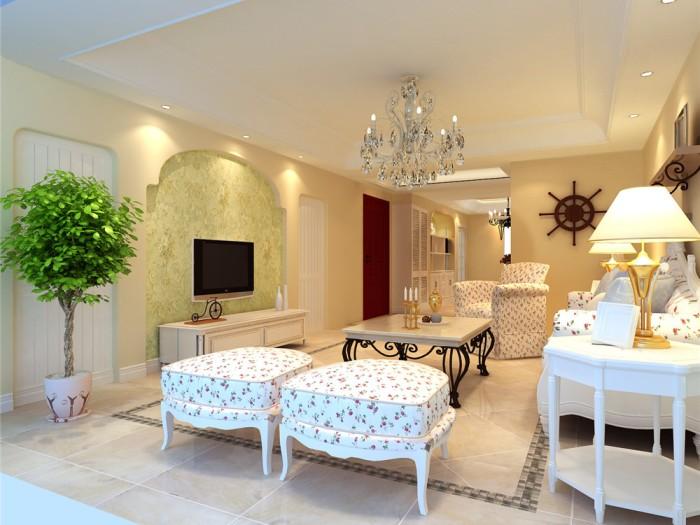 田园风格-127.9平米二居室-装修样板间