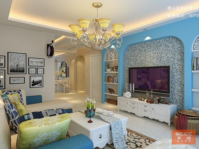 地中海风格-89.7平米二居室-装修样板间