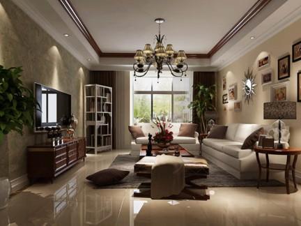 简约美式三居室客厅装修效果图欣赏