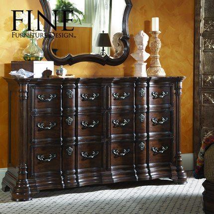 FINE精制家具 美式传统实木家具卧室双排梳妆台梳妆柜