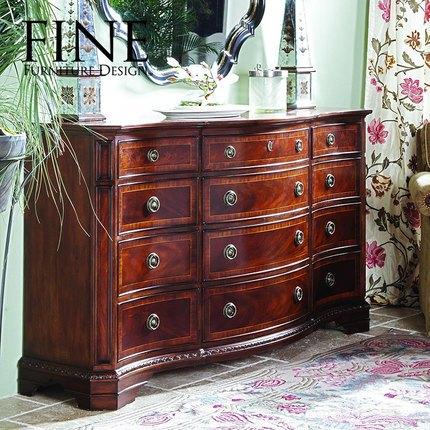 FINE精制美式传统家具实木框架核桃木简约时尚三排梳妆台