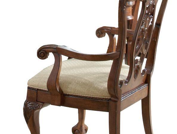 FINE精制家具 美式传统雕花餐椅 美式实木扶手餐椅华丽