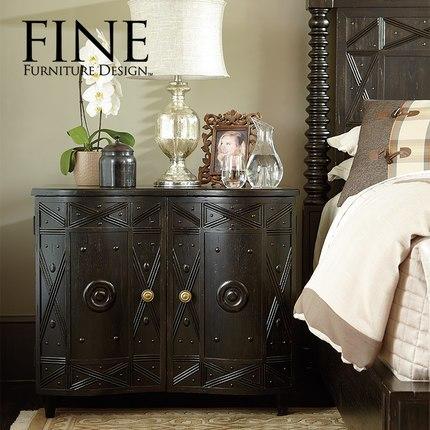 FINE精制美式家具 精致大方简约时尚实木框架 签名床头柜