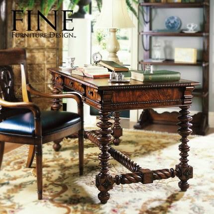 FINE精制家具 美式传统家具书桌写字台写字桌 实木家具