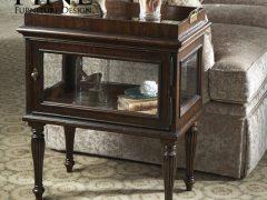 FINE精制传统美式客厅储存柜抽屉实木鱼玻璃相结合古董角几