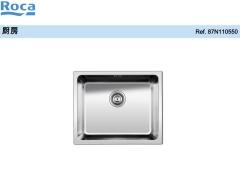 Roca乐家厨房长方形单槽不锈钢厨盆带落水装置
