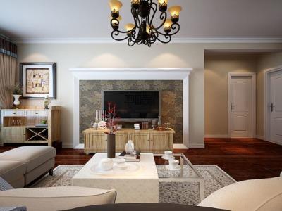 欧美风情-104.55平米三居室装修样板间