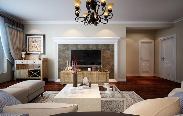 欧美风情-104.55平米三居室-装修样板间