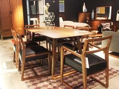 commune黑胡桃实木餐桌套装