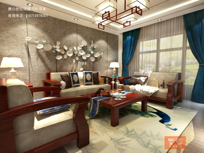 中式风格-133平米三居室-装修样板间