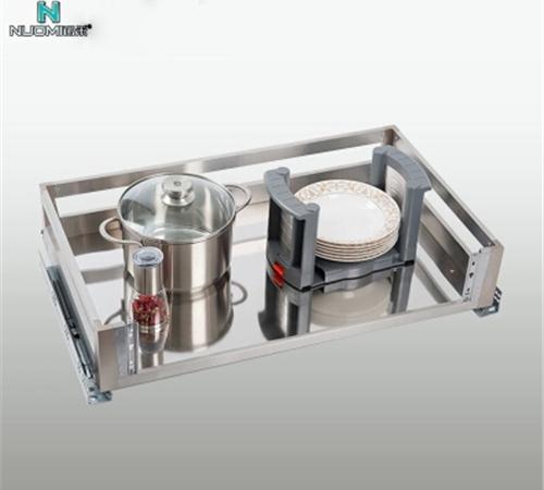 【诺米】橱柜厨房锅篮 不锈钢锅架拉篮 厨柜锅架