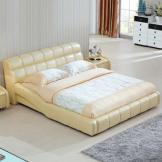美神 双人床真皮床实木床 1.5/1.8米简约现代软靠皮艺床