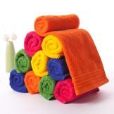 金号纯棉大毛巾十条装 素色提缎色彩缤纷时尚