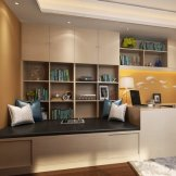 索菲亚书房榻榻米家具定制 转角写字台 衣柜书桌组合