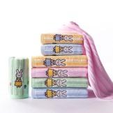 金号纯棉毛巾六条 卡通可爱小兔图案面巾