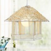 奥朵 单头小吊灯 美式鸟笼 个性艺术藤艺 阳台餐厅灯具
