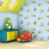 特普丽壁纸 儿童房无纺布墙纸 卡通动物快乐森林