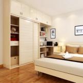 索菲亚卧室家具成套定制 整体衣柜+床+电视柜+书柜组合