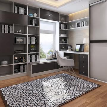 索菲亚书柜 现代书房整体书柜 转角书桌书柜收纳柜组合
