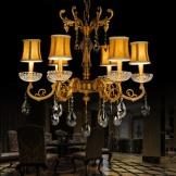 金达施华洛世奇水晶吊灯 客厅卧室书房餐厅 欧式铜灯