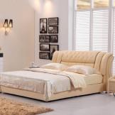 美神皮艺床 软体双人床真皮床 时尚结婚床 1.8米软床