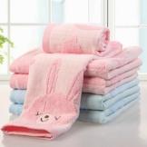 金号纯棉毛巾 无捻绣花小兔子 双层格子全棉面巾