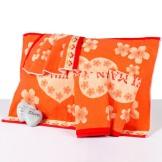 喜盈门情侣枕巾 纯棉提花美满枕巾一对 桔色棉布枕巾