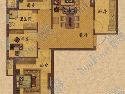 田园风格-98.27平米三居室装修样板间