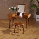 青岛一木家具 进口美国白橡木梳妆台 实木妆台 带妆镜图片