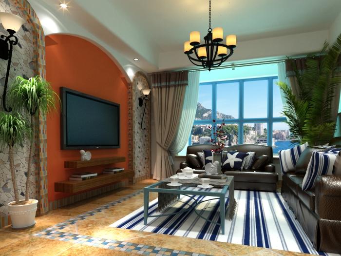 地中海风格-88.2平米二居室-装修样板间