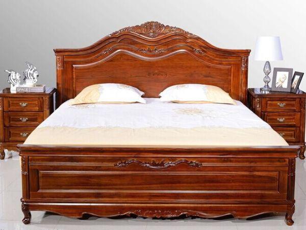 实木卧室床高端柚木床双人床欧式床成品实木床柚木双人床