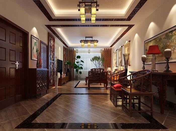 中式古典-144.04平米三居室-装修样板间