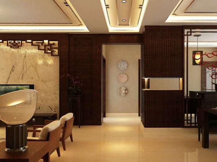 中式风格-140平米三居室-装修样板间