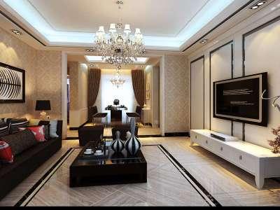 简欧风格-140平米三居室装修样板间