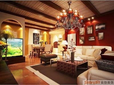 东南亚风格-108平米三居室装修样板间