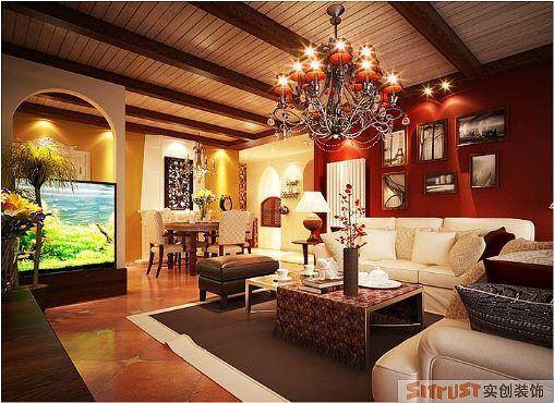 东南亚风格-108平米三居室-装修样板间