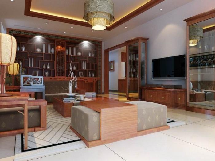 中式古典-75平米二居室-装修样板间